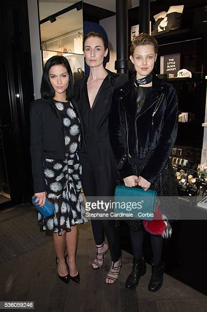 Leigh Lezark Erin O'Connor and Lindsey Wixson attend the Tiffany Cooper Exhibition at Karl Lagerfeld Boutique as part of the Paris Fashion Week...