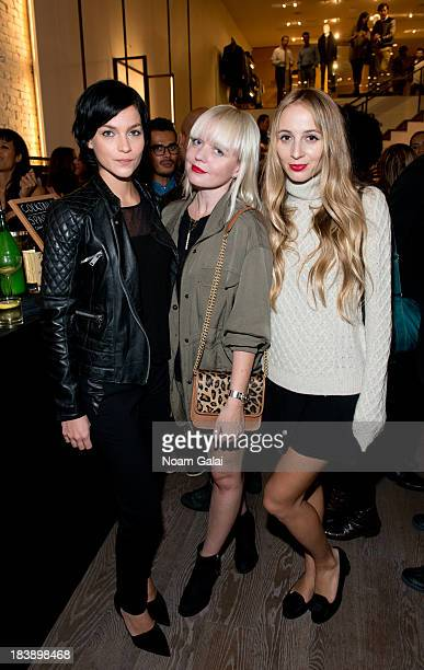 Leigh Lezark Fiona Byrne and Harley VieraNewton attend the grand opening of Vince Flagship Store on October 9 2013 in New York City