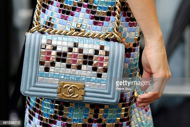 Leigh Lezark handbag detail arrives at the Chanel show as part of the Paris Fashion Week Womenswear Spring/Summer 2016 on October 6 2015 in Paris...