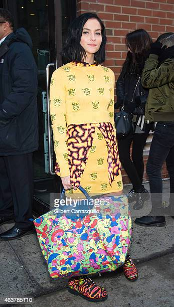 Leigh Lezark is seen arriving at Jeremy Scott fashion show during MercedesBenz Fashion Week Fall 2015 at Milk Studios on February 18 2015 in New York...
