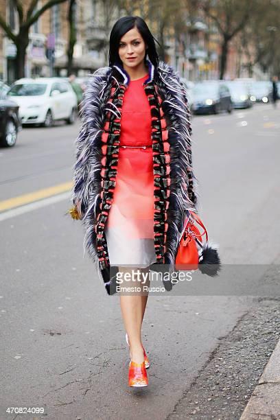 Leigh Lezark is seen outside the Fendi Fashion Show on day 2 of Milan Fashion Week Womenswear Autumn/Winter 2014 on February 20 2014 in Milan Italy