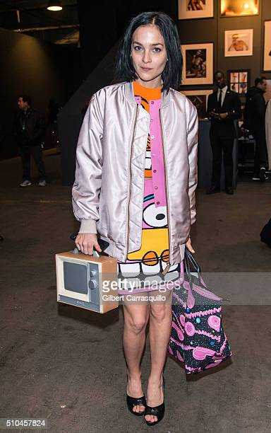 Leigh Lezark is seen outside the Jeremy Scott Fall 2016 fashion show during New York Fashion Week The Shows at The Arc Skylight at Moynihan Station...