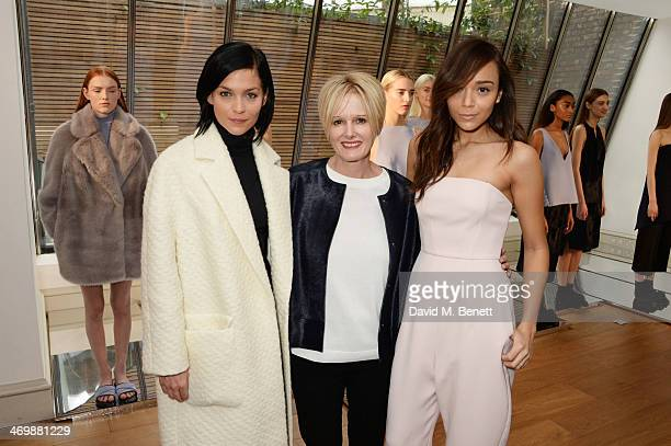 Leigh Lezark Jane Shepherdson CEO of Whistles and Ashley Madekwe attend the Whistles presentation at London Fashion Week AW14 at 33 Fitzroy Place on...