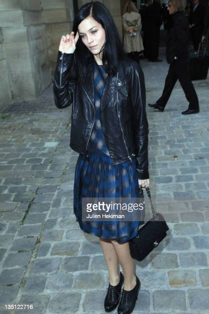 Leigh Lezark leaves the Louis Vuitton Ready to Wear Spring/Summer 2011 show during Paris Fashion Week at Cour Carree du Louvre on October 6, 2010 in...