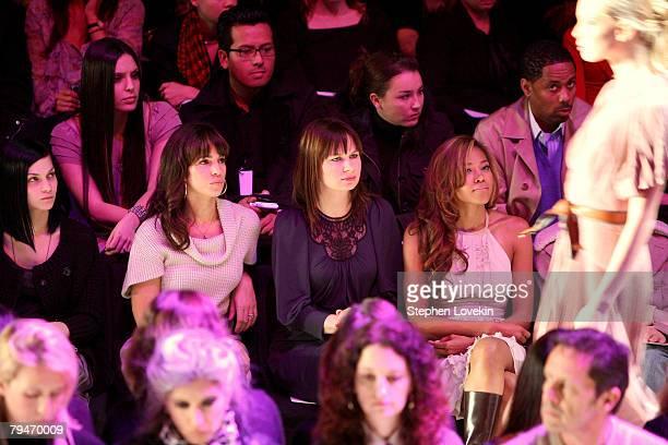 DJ Leigh Lezark of Misshapes actress Ana Ortiz and actress Mary Lynn Rajskub attend the BCBGMAXAZRIA Fall 2008 fashion show during MercedesBenz...