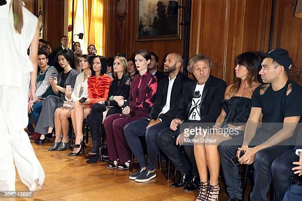 Leigh Lezark, Olivia Palermo, Coco Rocha, Stefano Rosso, Renzo Rosso, Arianna Alessi and Nicola Formichetti attend the Viktor & Rolf show as part of...