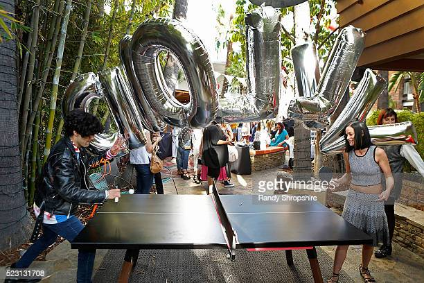 Leigh Lezark plays table tennis during the Villoid garden tea party hosted by Alexa Chung at the Hollywood Roosevelt Hotel on April 21 2016 in...