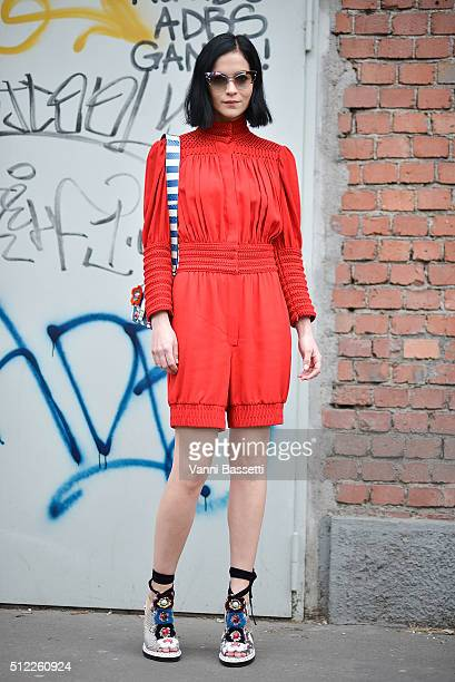 Leigh Lezark poses wearing Fendi before the Fendi show during the Milan Fashion Week Fall/Winter 2016/17 on February 25 2016 in Milan Italy