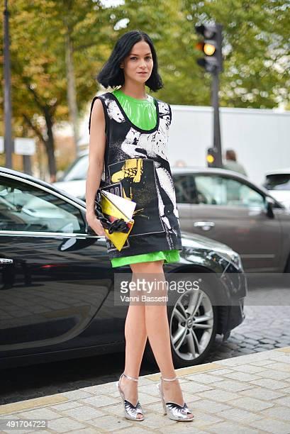 bf43e571b9d4 Leigh Lezark poses wearing Miu Miu before the Miu Miu show at the Palais de  Iena