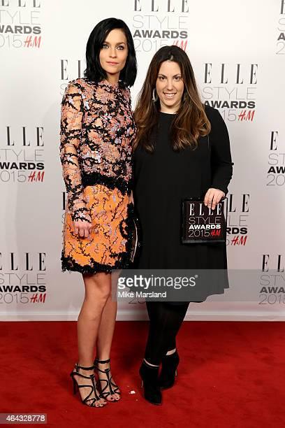 Leigh Lezark poses with designer Mary Katrantzou winner of the Red Carpet Designer Award in the winners room during the Elle Style Awards 2015 at Sky...