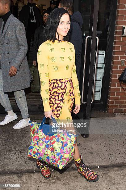 Leigh Lezark seen departing the Jeremy Scott fashion show during MADE Fashion Week at MILK Studios on February 18 2015 in New York City