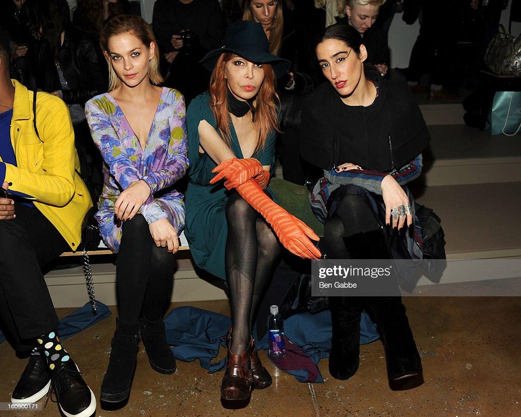 Leigh Lezark, Sophia Lamar and Ladyfag attend the Costello Tagliapietra fall 2013 fashion show during MADE fashion week at Milk Studios on February 7, 2013 in New York City.