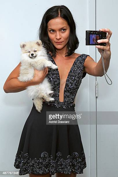 Leigh Lezark takes a selfie with Kelly Osbourne's dog Poppy backstage at the Idan Cohen fashion show during Spring 2016 New York Fashion Week The...