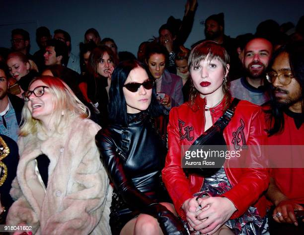 Leigh Lezark Tia Garison and Troy Ramadin attned The Blonds Runway show during New York Fashion Week at Spring Studios on February 13 2018 in New...