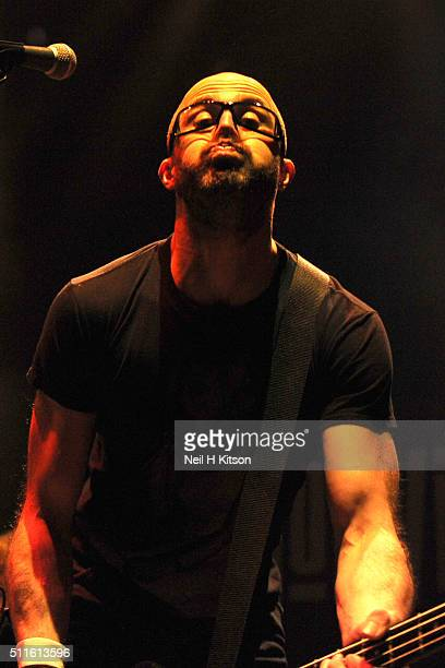 Leigh Marklew of Terrorvision performs at Motorpoint Arena on February 19 2016 in Sheffield England