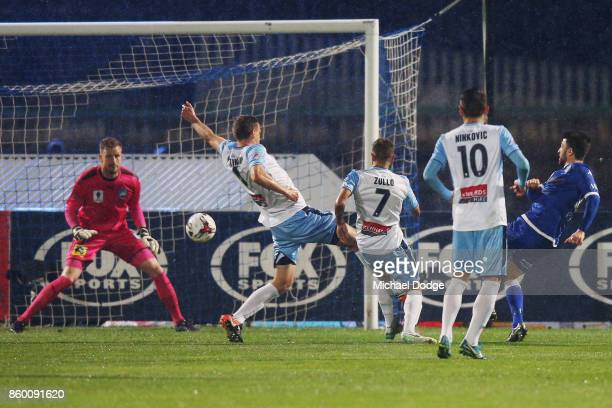 Leigh Minopoulos of South Melbourne kicks the ball for a goal during the FFA Cup Semi Final match between South Melbourne FC and Sydney FC at...
