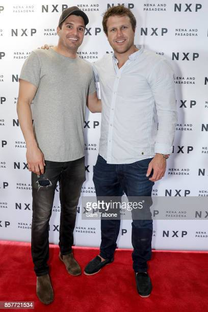 Leigh Montagna and Campbell Brown arrives for the Nena Pasadena store launch on October 5 2017 in Melbourne Australia