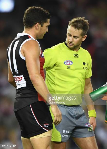 Leigh Montagna of the Saints argues with the umpire after giving away a 50m penalty during the round five AFL match between the St Kilda Saints and...