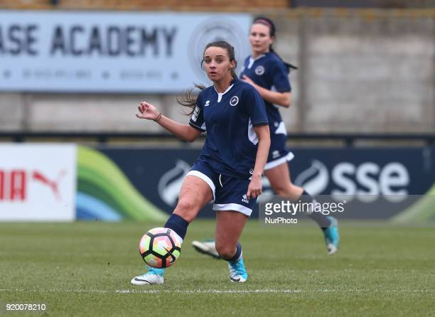 Leigh Nicol of Millwall Lionesses L during The FA Women's Cup Fifth Round match between Arsenal against Millwall Lionesses at Meadow Park Borehamwood...