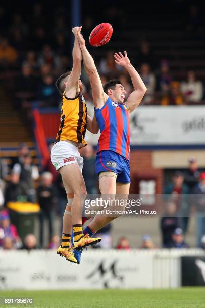 Leigh Osborne of Port Melbourne jumps for a mark during the round seven VFL match between Port Melbourne and Box Hill at North Port Oval on June 3,...