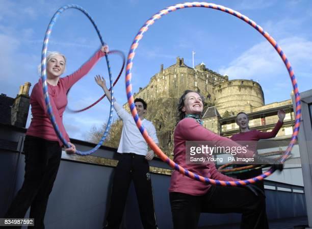 Leigh RobiesonCleaver Matt Roe teacher Fiona Blair and Mikaela MacIntyre from Edinburgh's Dance Base host a hulahooping class to celebrate the...