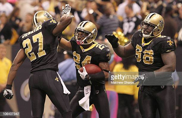 Leigh Torrence of the New Orleans Saints celebrates a gamesealing interception against the Pittsburgh Steelers at the Louisiana Superdome on October...