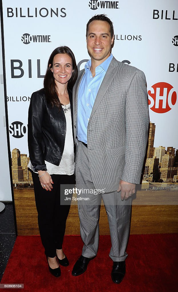 Leigh Williams and baseball player Mark Teixeira attend the 'Billions' series premiere at Museum of Modern Art on January 7, 2016 in New York City.