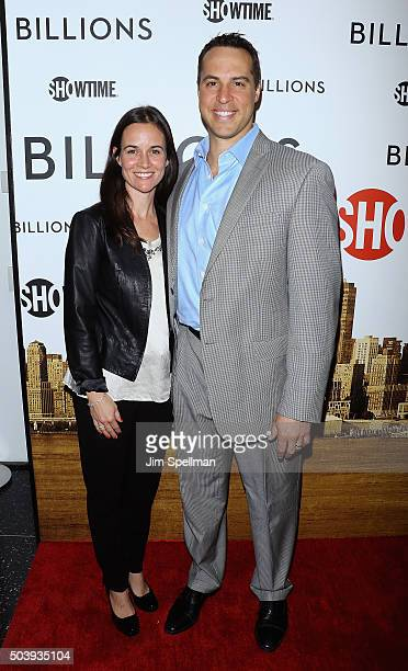 Leigh Williams and baseball player Mark Teixeira attend the 'Billions' series premiere at Museum of Modern Art on January 7 2016 in New York City