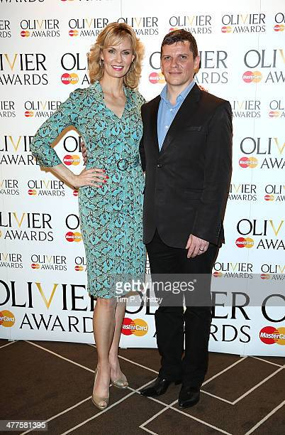 Leigh Zimmerman and Nigel Harman attend as The Laurence Olivier Awards nominees are announced at Rosewood London on March 10 2014 in London England