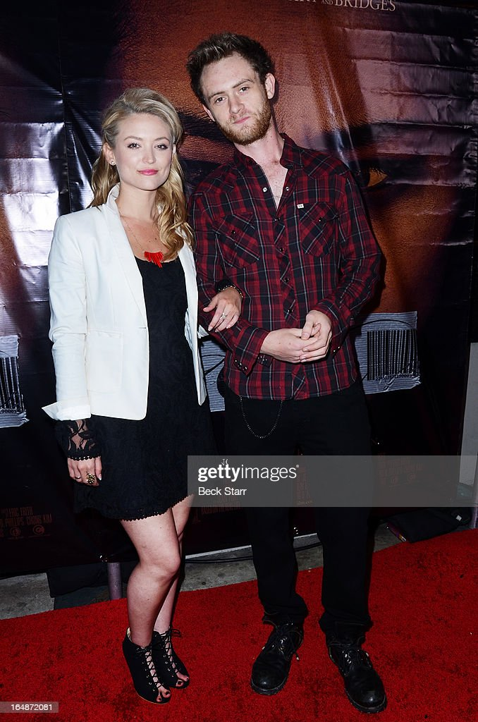 Leigha Kingsley and actor Matt O'Leary arrive at the Los Angeles premiere of 'Eden' at Laemmle Music Hall on March 28, 2013 in Beverly Hills, California.