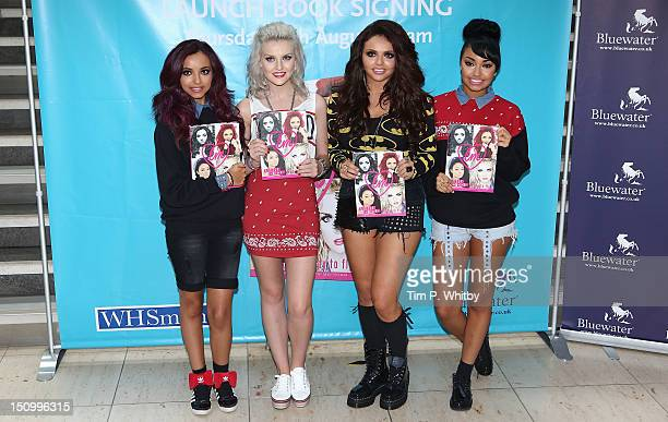 LeighAnn Pinnock Perrie Edwards Jesy Nelson and Jade Thirlwall attend a book signing of 'Little Mix Ready To Fly' at WHSmith Bluewater on August 30...