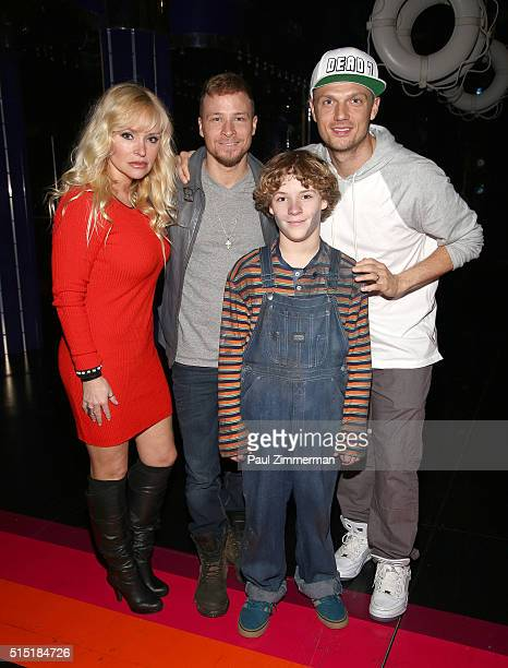 Leighanne Littrell Brian Littrell Baylee Littrell and Nick Carter visit Broadway's Disaster at Nederlander Theatre on March 12 2016 in New York City