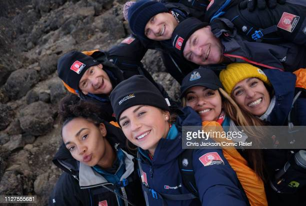 LeighAnne Pinnock Alexander Armstrong Dan Walker Ed Balls Anita Rani Jade Thirlwall and Dani Dyer pose during day four of 'Kilimanjaro The Return'...