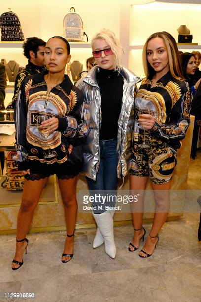 LeighAnne Pinnock Alice Chater and Jade Thirwall attend the launch of the Kith x Versace limited edition collection at the Versace Sloane Street...