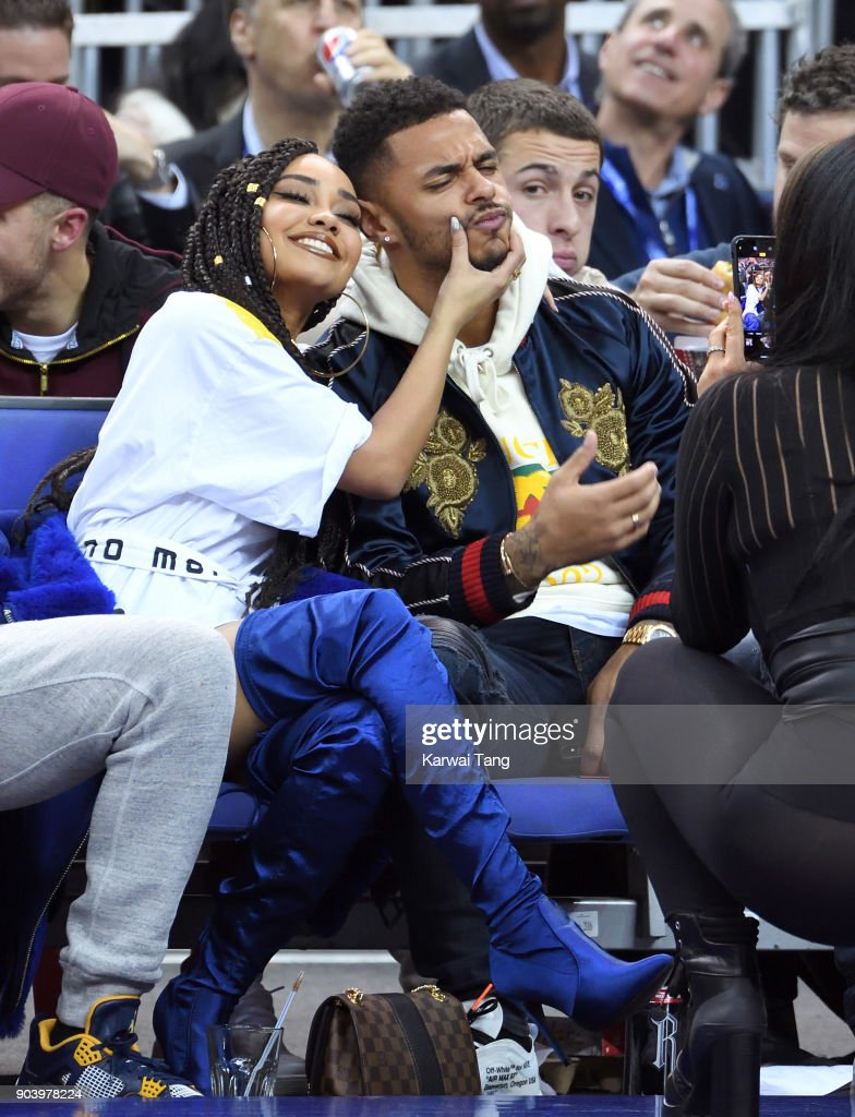 Leigh-Anne Pinnock and Andre Gray attend the Philadelphia 76ers and Boston Celtics NBA London game at The O2 Arena on January 11, 2018 in London, England.