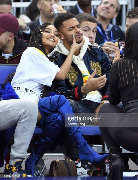 LeighAnne Pinnock and Andre Gray attend the Philadelphia 76ers and Boston Celtics NBA London game at The O2 Arena on January 11 2018 in London England