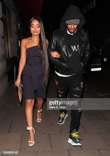 LeighAnne Pinnock and Andre Gray leaving Novikov restaurant on October 28 2018 in London England