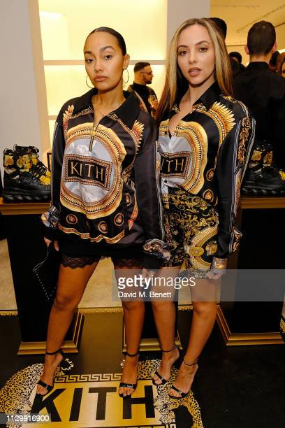 Leigh-Anne Pinnock and Jade Thirwall attend the launch of the Kith x Versace limited edition collection at the Versace Sloane Street boutique on...