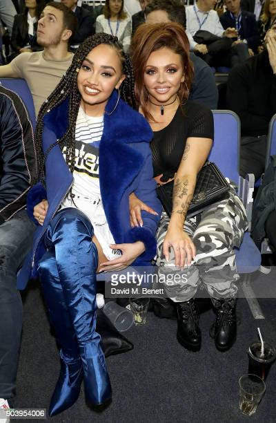 LeighAnne Pinnock and Jesy Nelson attend the Philadelphia 76ers and Boston Celtics London game at The O2 Arena on January 11 2018 in London England