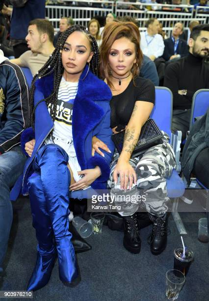 LeighAnne Pinnock and Jesy Nelson attend the Philadelphia 76ers and Boston Celtics NBA London game at The O2 Arena on January 11 2018 in London...