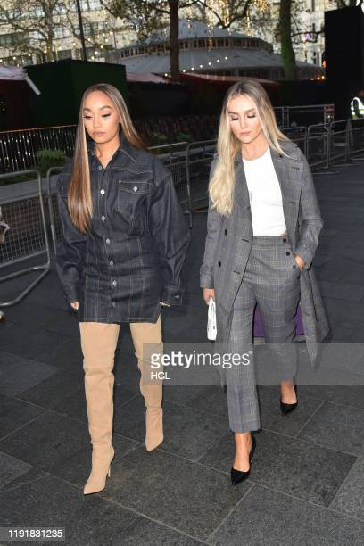 Leigh-Anne Pinnock and Perrie Edwards of Little Mix seen arriving at the Global Studios for the Heart Breakfast show on December 04, 2019 in London,...