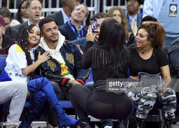 LeighAnne Pinnock Andre Gray and Jesy Nelson attend the Philadelphia 76ers and Boston Celtics NBA London game at The O2 Arena on January 11 2018 in...