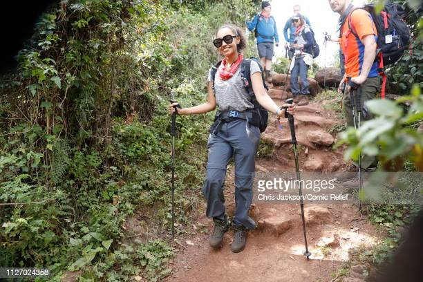 LeighAnne Pinnock arrives in camp on day 1 of 'Kilimanjaro The Return' for Red Nose Day on February 23 2019 in Arusha Tanzania all to raise funds for...