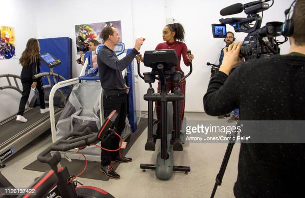 LeighAnne Pinnock from Little Mix receives instructions from Professor Greg Whyte during altitude training ahead of a trek up Mount Kilimanjaro in...