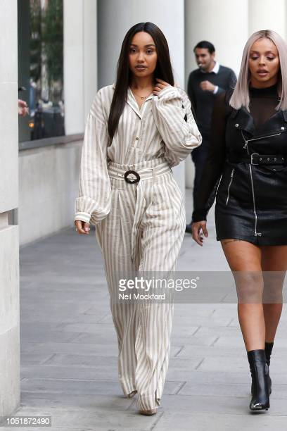LeighAnne Pinnock from Little Mix seen arriving at BBC Radio One on October 11 2018 in London England