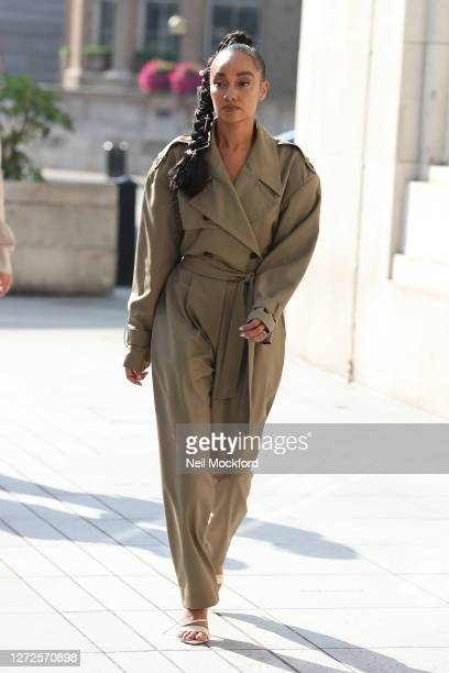 Leigh-Anne Pinnock from Little Mix seen leaving the Langham Hotel ahead of their performance of BBC Radio One Live Lounge on September 15, 2020 in...