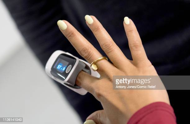 Leigh-Anne Pinnock from Little Mix wears a finger pulse oximeter during altitude training ahead of a trek up Mount Kilimanjaro in aid of Comic Relief...
