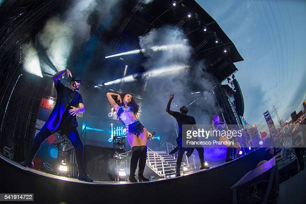 LeighAnne Pinnock Jade Edwards Jesy Nelson and Perrie Edwards of Little Mix Perform at Summer Arena Assago on June 20 2016 in Milan Italy