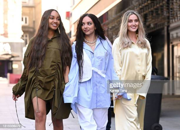 Leigh-Anne Pinnock, Jade Thirlwall and Perrie Edwards of Little Mix arrive at Global radio studios on April 30, 2021 in London, England.