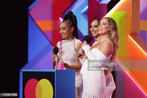 Leigh-Anne Pinnock, Jade Thirlwall and Perrie Edwards of Little Mix accept the award for Best British Group at The BRIT Awards 2021 at The O2 Arena...